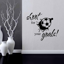 Shoot for your goals Wall Sticker Football Soccer Decal Vinyl Art Mural Removable Home Decor DIY welcome sign many languages wall sticker decal art vinyl mural office shop home wall decor welcome diy wallpaper removable bg07