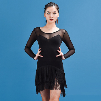 Sexy Latin Dance Dresses For Women Fringe Skirts New Black Dress Round Neck Practice Tassel Clothing Latino Show Costume