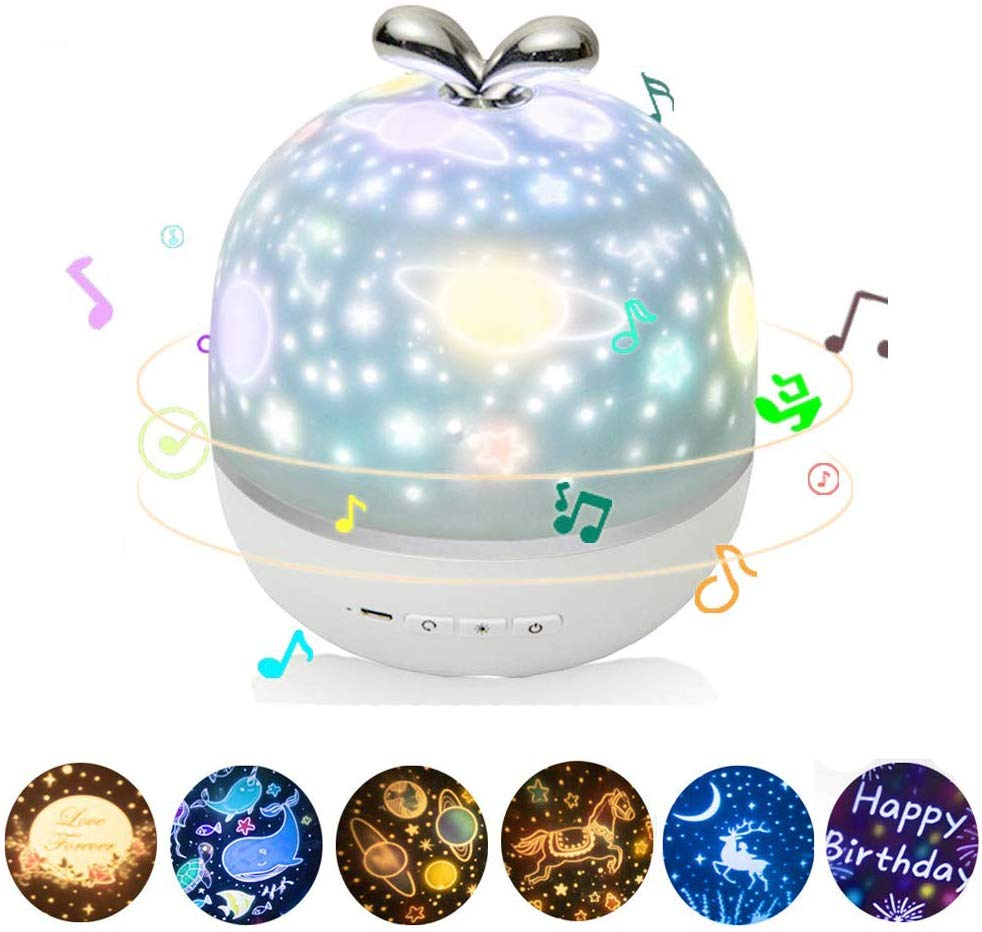 Projector Night Light With Music Box And 6 Projection Films 360 Rotation Starry Sky Projector Lamp For Kids Bedroom Nursery Dec