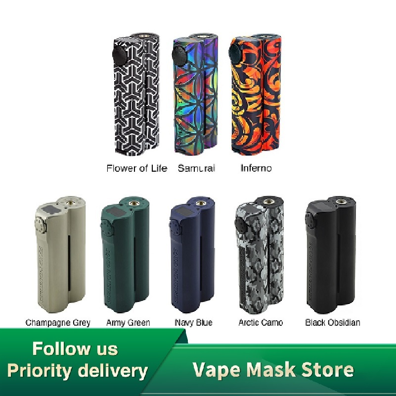 Heavengifts Double Barrel V3 150W VW MOD For Squid Industries Flat Top OLED Display No Battery Double Barrel Box Mod VS Drag 2