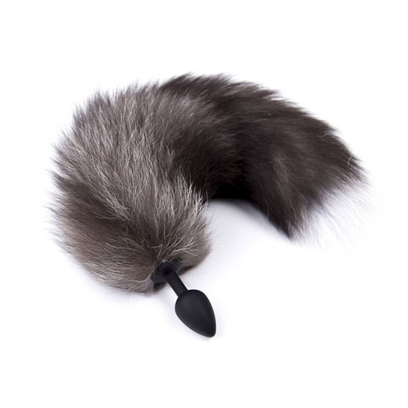Plug Exotic Cosplay For Adults Avengers Endgame Anal Plug With Tail For Cosplay Women Black Silicone Fox's Tail Shape Anal Butt