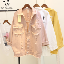 Fashion Slim Women Denim Jacket Pole Female Loose Cowboy Coat 2020 New Spring Autumn Cool Pockets Hole Tassel Girl Jean Outwear(China)