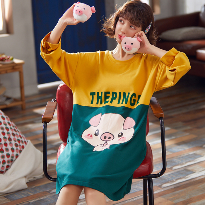 Hot Selling WOMEN'S Pajamas Autumn Home Wear Pure Cotton Long Sleeve Cartoon Nightgown Girl'S Cute Students Nightgown Women's