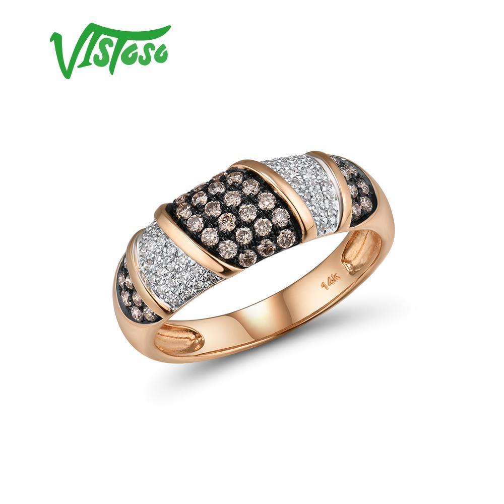 VISTOSO Pure 14K 585 or Rose étoilé diamant brun diamant bague délicate pour les femmes anniversaire fiançailles bijoux fins à la mode