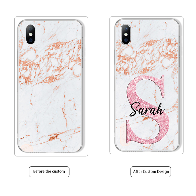 DIY Name Custom Phone Case For iPhone Fashion Customized Marble Soft TPU Cover 4