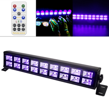 Double Row 18 LED 54W UV Violet Black Lights with Voice Control/Self-propelled/DMX 512 for Christmas Party / Bar / Wall Washer