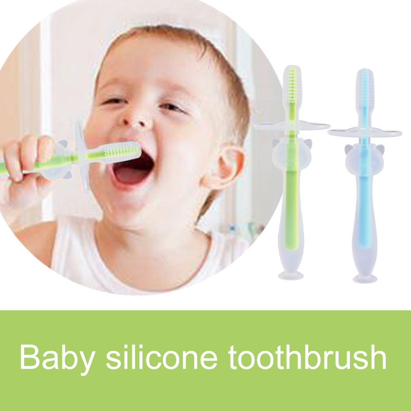 Baby Infants Kids Soft Safe Bendable Teether Training Teeth Toothbrush Brush New image