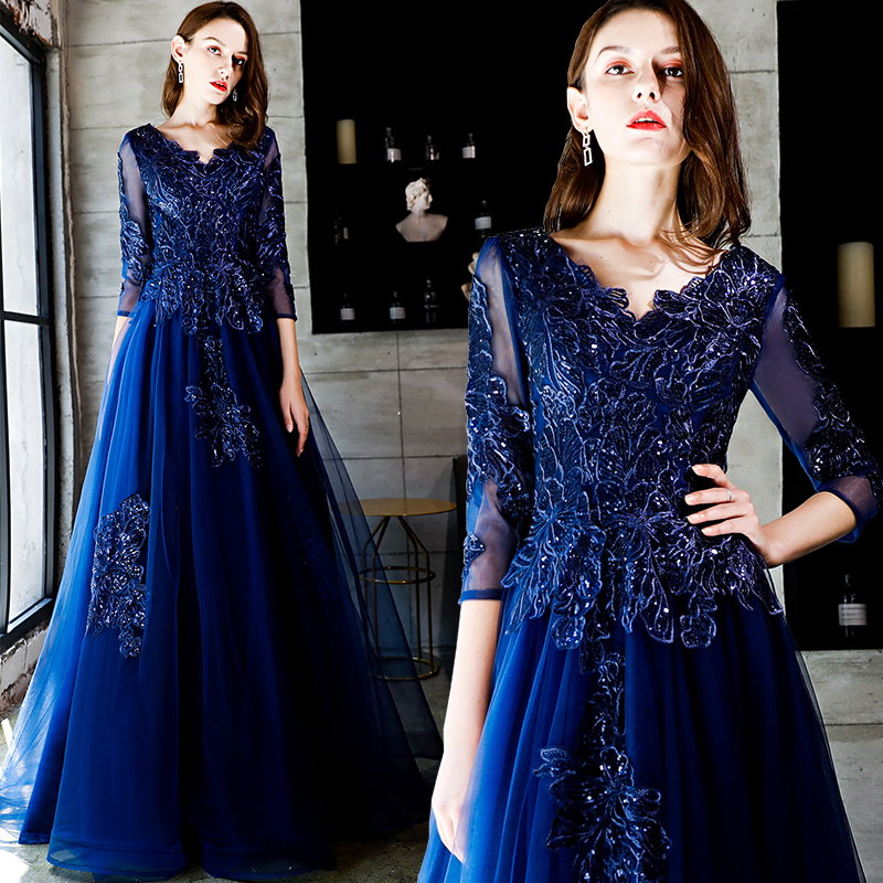 V Neck Long Sleeves A Line Evening Dress For Women Formal Prom Gown Elegant Banquets Custom Made Vestidos