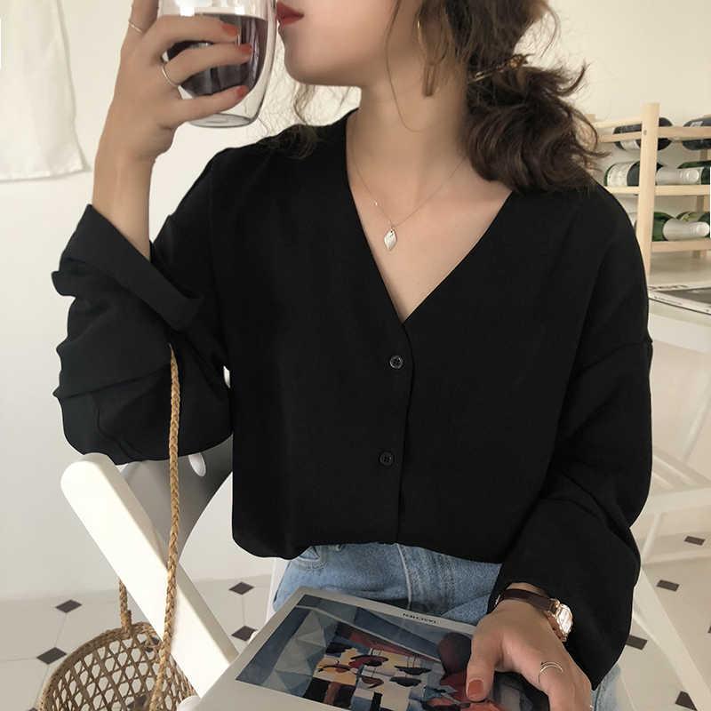Flectit Chic Mulheres de Negócios Blusa & Camisa Com Decote Em V com Botões Manga Comprida Primavera Outono Tops Senhora Roupa de Trabalho *