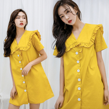 Spring and summer new style Loose doll collar dress Cotton Solid color sweet