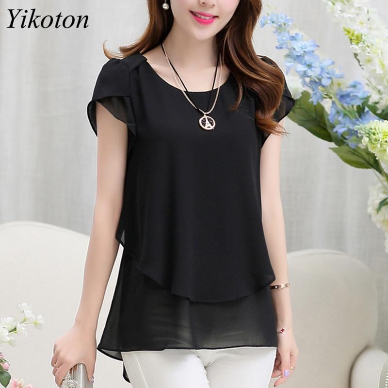Yikoton 2021 New Summer Women Blouse Loose Shirt O-Neck Chiffon Blouses Female Short Sleeve Blouse Plus Size Shirts Tops Blusas 4