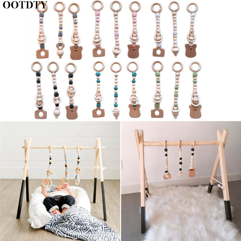 3 Pcs/set Nordic Baby Gym Wood Bead Pendants Toys Baby Play Gym Baby Stroller Baby Fitness Rack Hanging Ornament Baby Toys