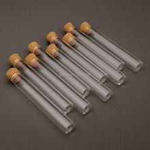 Tubes à essai en verre à fond plat avec bouchons en liège, 100 pièces/lot, pour expérience de laboratoire scolaire 12x75mm