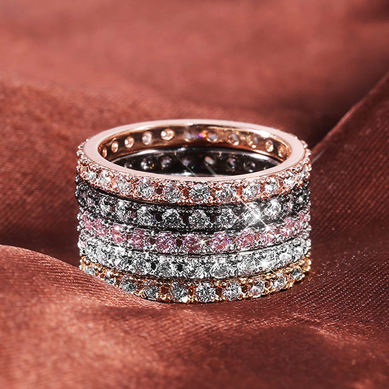 Classic High Quality Circle Clear Dazzling Zircon Geometric Stackable Rings for Women Wedding Jewelry Gift