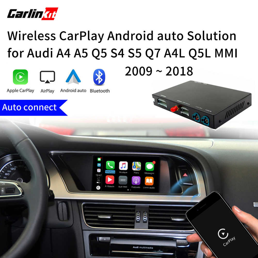 Carlinkit Decoder 2.0 CarPlay/Android Auto untuk AUDI A4 A5 S4 Q5 Q7 A4L Q5L 3G/3G + MMI iPhone Android Kabel Nirkabel Carlife Kit