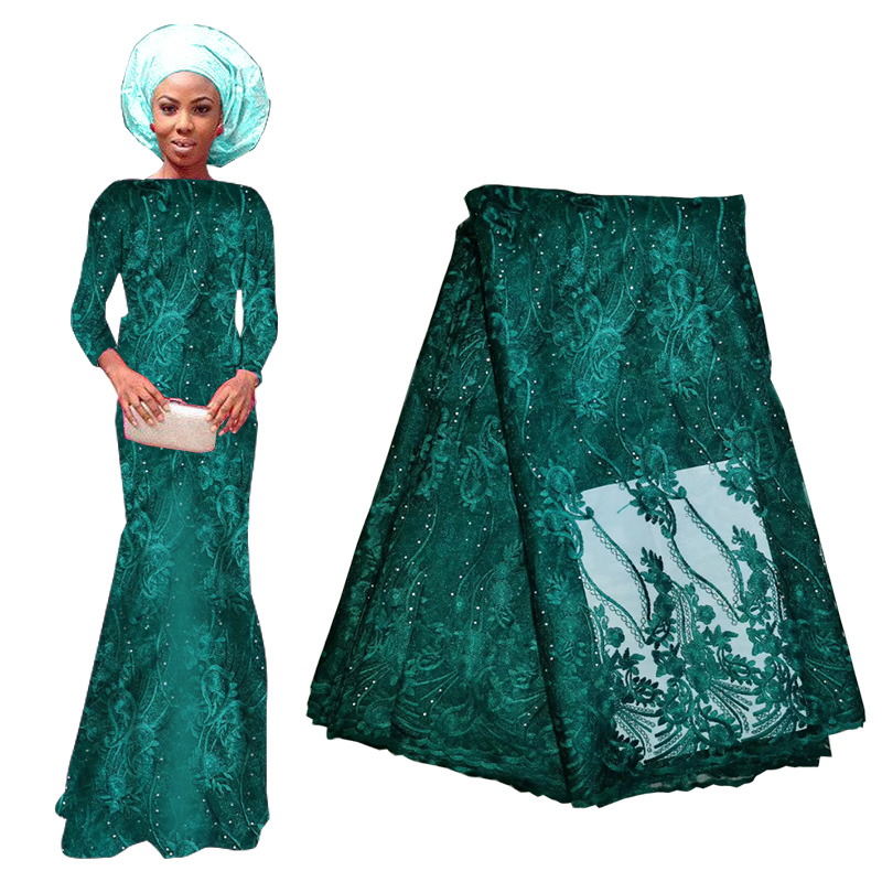2019 Latest French Lace Fabric Nigerian African Lace With Beaded Burgundy Green High Quality Tulle Lace Fabric For Bridal