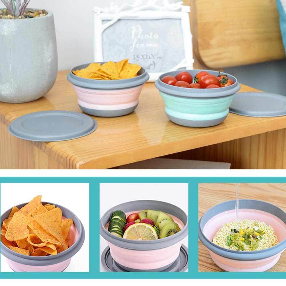 3PCs Sets Silicone Collapsible Noodle Bowl Portable Silicone Salad Fruit Lazy Snack Folding Bowl with Lid Ice Cream Bowls Tablew in Bowls from Home Garden