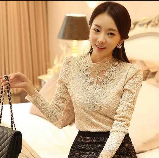 Musim Gugur 2020 Renda Crochet Bordir Wanita Atasan Kemeja Manik-manik Elegan Flora Wanita Blousa Vintage Retro OL Tops Z930