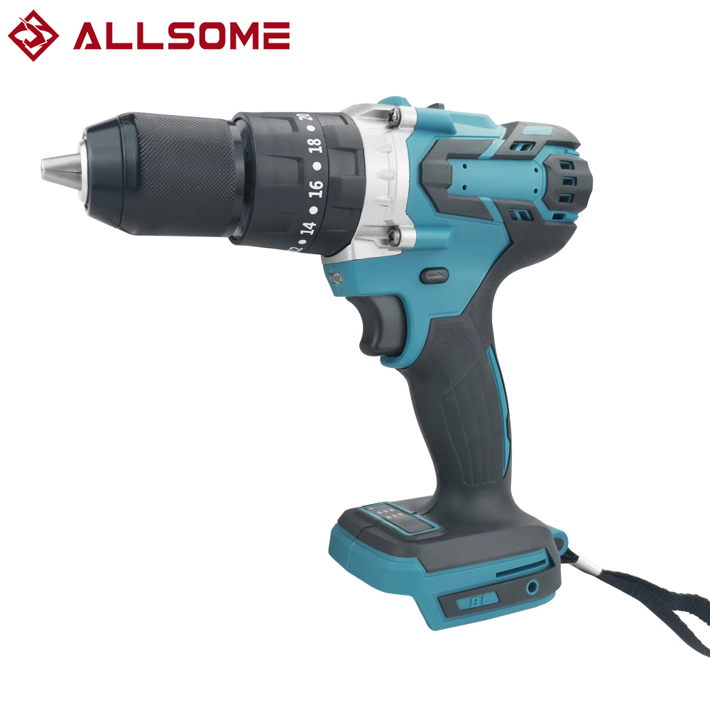 ALLSOME 13mm Electric Cordless Impact Drill 2-Speed Rechargable Electric Screwdriver For 18V Makita Battery