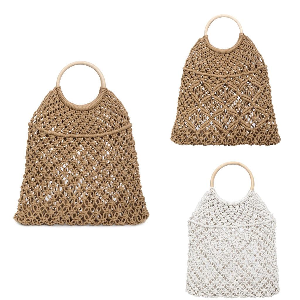 Femmes mode paille tissé sac solide couleur sac à Main bouton décoration sauvage creux plage sac lin matériel principal chaud Apr 16
