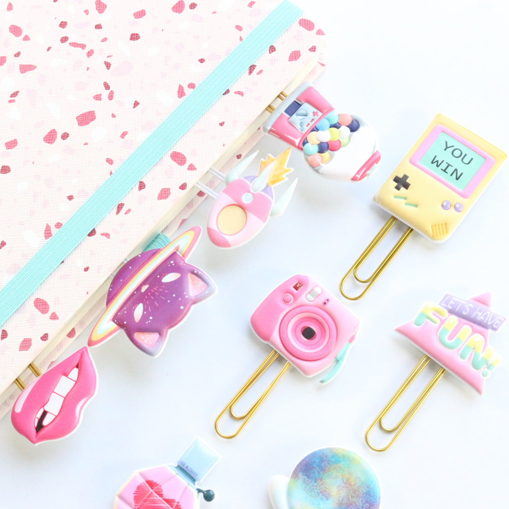 Domikee Cute Kawaii Japanese Cartoon Paper Clips Set Office School Student Metal Memo Clip Bookmark Set Stationery Supplies 2pcs