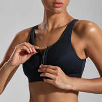 La Isla Women's High Impact Zipper Front Wire Free Non-padded X Back Sports Bra