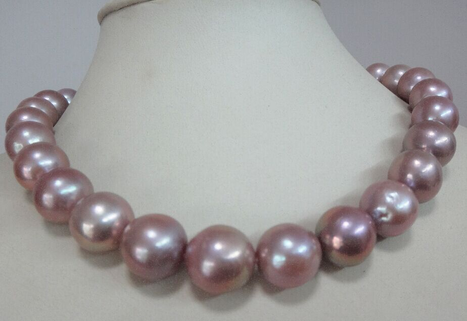 """South sea genuine white nuclear white round pearl necklace huge 18/""""14-16mm gift"""