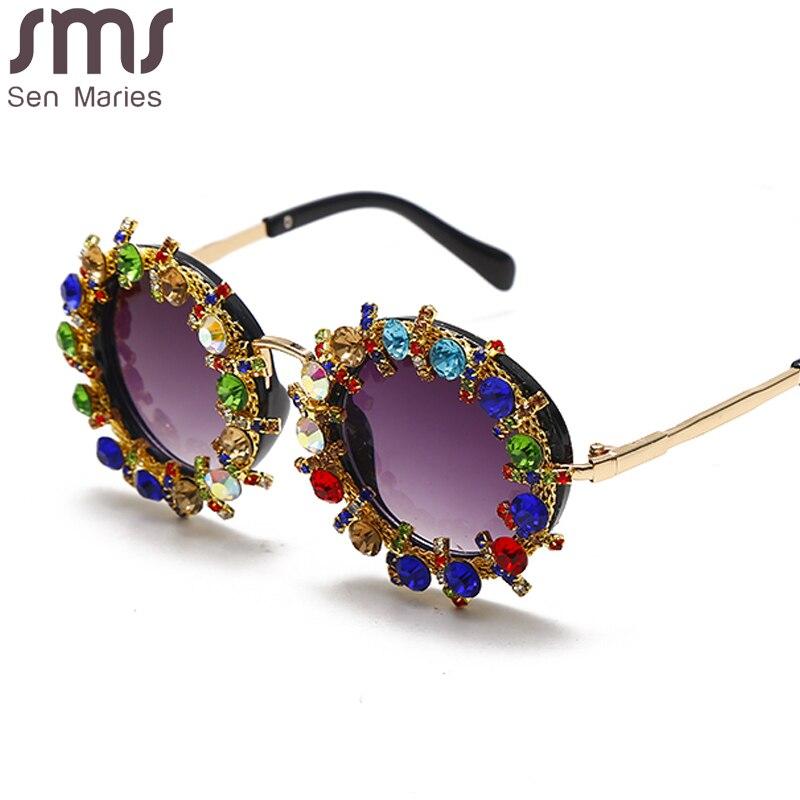Gafas redondas con diamantes para bebés y niños, anteojos de lujo con montura de diamantes de imitación, montura de ojos para niños, gafas Vintage, 2020