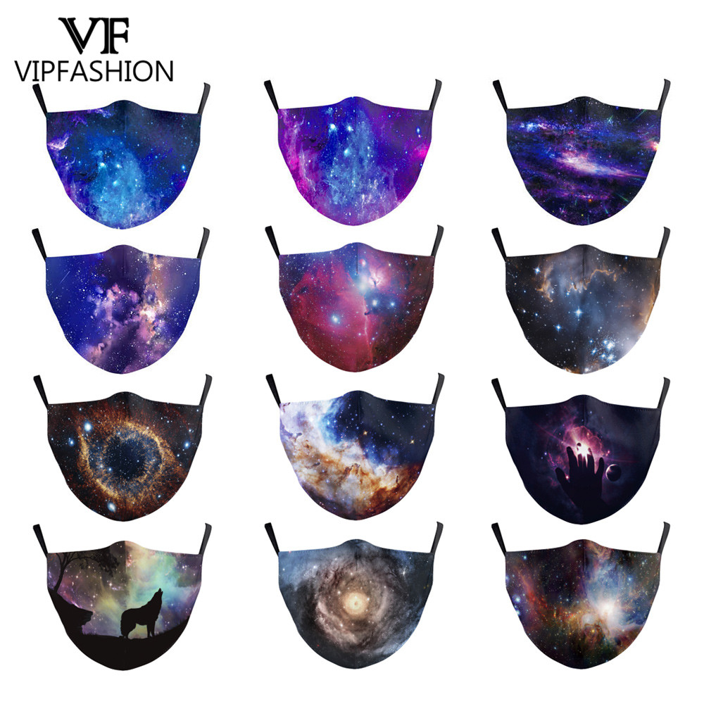 VIP FASHION Reusable Washable Protective PM2.5  Starry Sky Print Mouth Mask Anti Dust Face Mask Bacteria Proof Flu Mask Dropship
