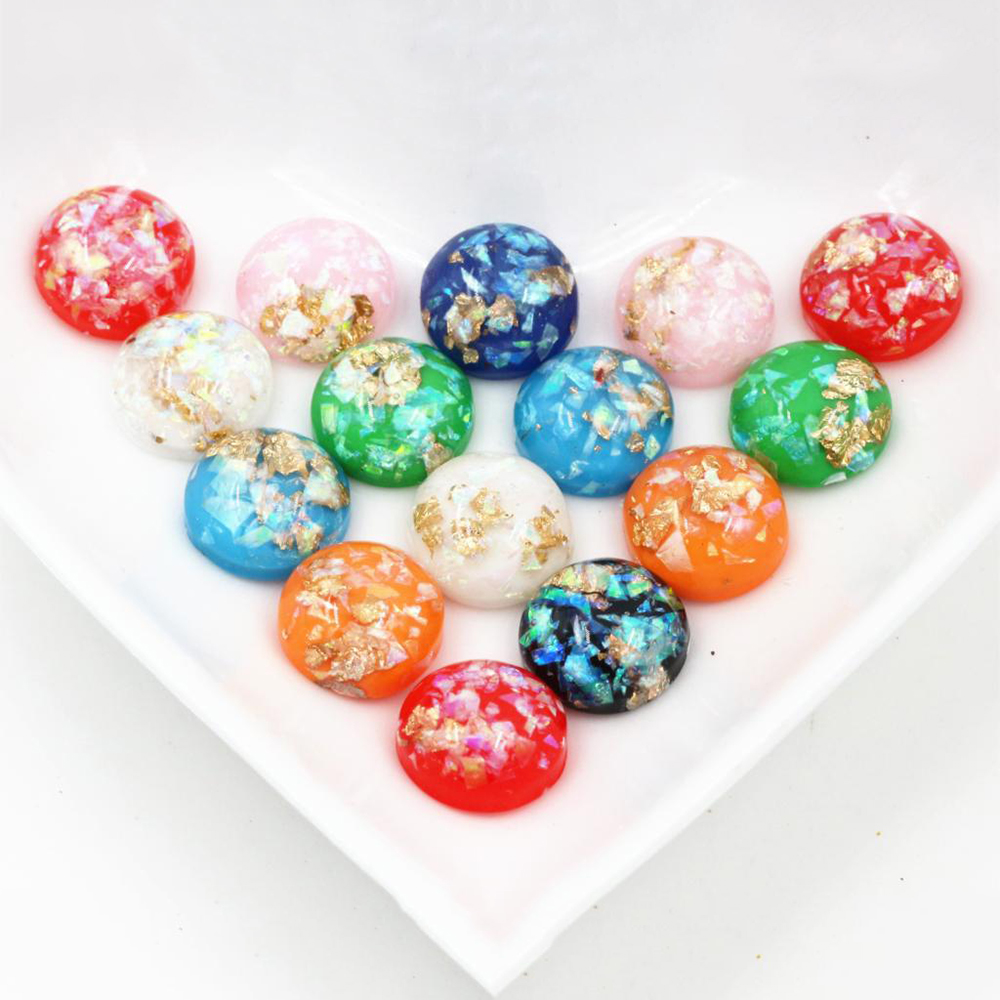 New Fashion 40pcs 12mm Mix Colors Flat Back Resin Cabochons Cameo-