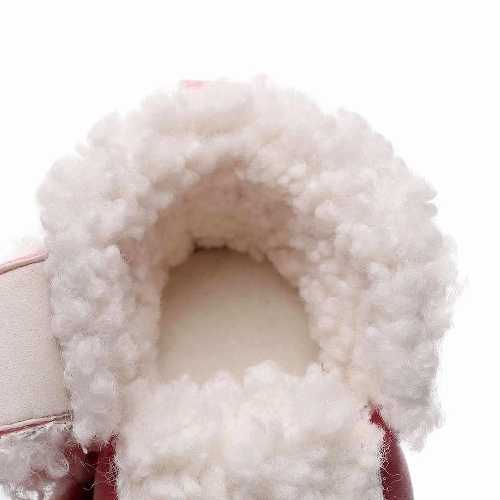 Inverno da criança dos miúdos do bebê meninas meninos bonito leopardo botas quentes botas botas sapatos inverno quente coroa de pele meados de bezerro comprimento deslizamento-on sapatos
