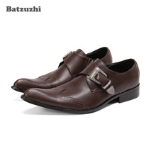 Batzuzhi Luxury Handmade Men's Shoes Formal Genuine Leather Dress Shoes Pointed Toe Buckle Brown Business Leather Shoes Men goodyear manmade shoes wear business bovine custom made shoes genuine three joints carved tip round toe formal pointed toe ankle