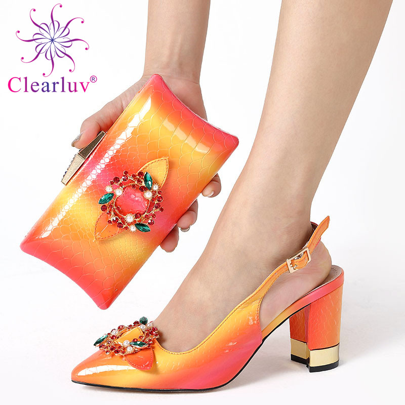 New Orange Color Italian Shoes With Matching Bags African Women Shoes And Bags Set For Prom Party Summer Sandal