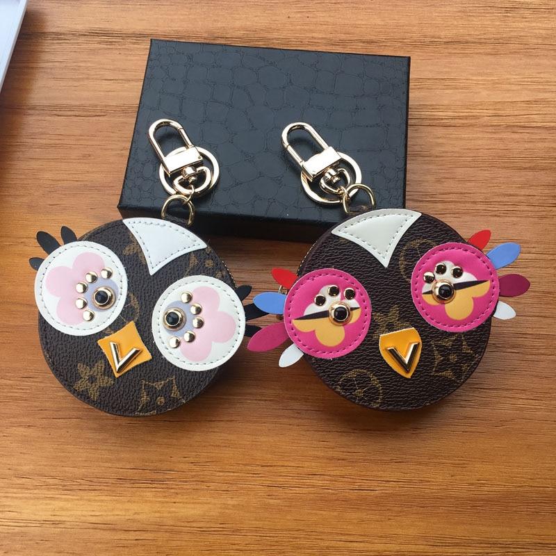 Cute Fluffy Owl Keychain Rex Rabbit Fur Pompoms Key Chain Fur Pom Pom Keychain Bag Charm Car Pendant Key Ring Holder