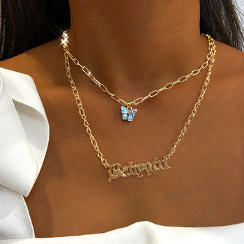 Bohemian Multilayer Necklaces For Women Men Gold Butterfly Portrait Coin Cross Crystal Chokers Necklace Trendy New Jewelry Gifts