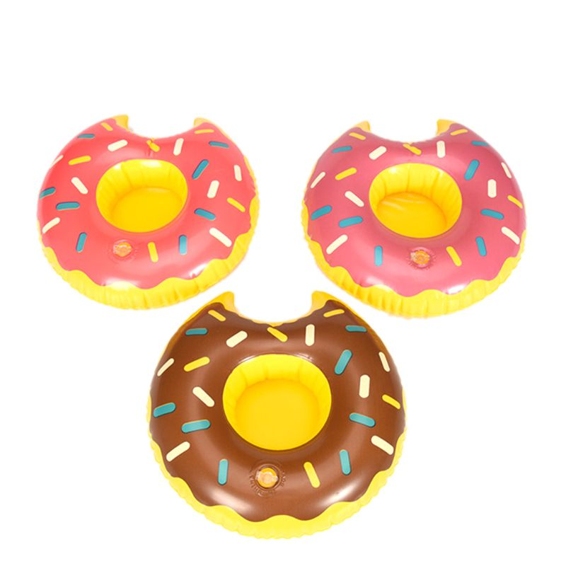 1Pc Cute Do-nut Cup Inflatable Holder Floating Coaster Pool Drink Water Toy Beach Party-random Color