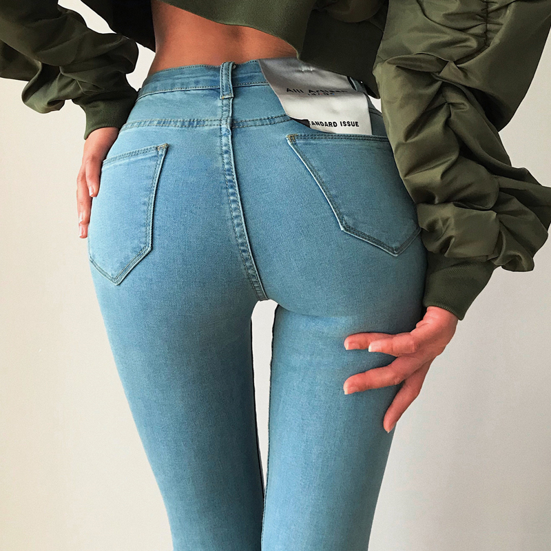 Women High-Waisted Skinny Jeans Pencil Denim Pants 4 Colors 6 Sizes