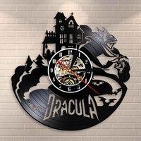 Drácula castelo arte da parede relógio de parede halloween escuro horror decoração para casa gótico vampiro morcegos vintage vinil registro relógio de parede