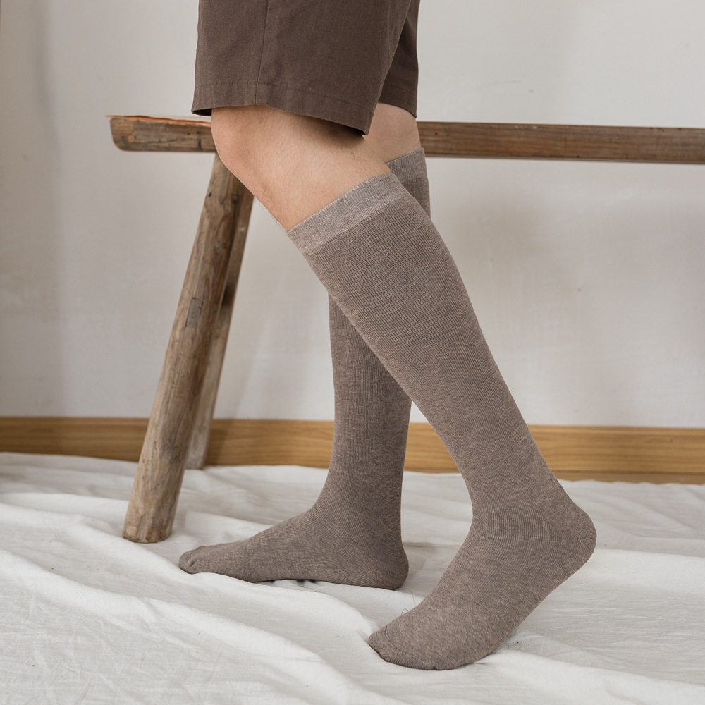 Solid Color Warm Thicken Men's Socks High Knee Wool Socks Man Winter Long Socks Leg Calcetines Meias