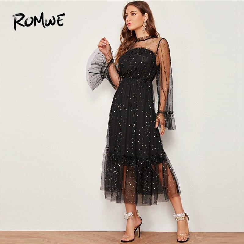 ROMWE Frilled Neck Bell Sleeve Star Mesh Dress Women Autumn Glamorous Long Dress Black Party Dresses High Waist Maxi Dress