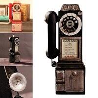 Vintage girar clássico olhar dial modelo de telefone público cabine retro decoração para casa ornamento sep99|Telefones decorativos| |  -