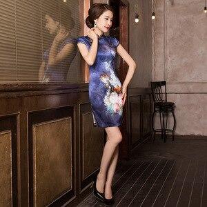 Image 4 - 2019 précipité été nouveau classique imprimé soie Cheongsam tempérament dame A entreprend de cultiver la moralité courte Qipao robe