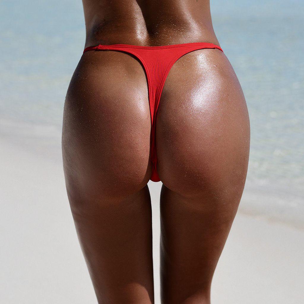 High Leg Brief Scrunch Micro Thong Brazilian Bikini Swimsuit Bottom Tanga