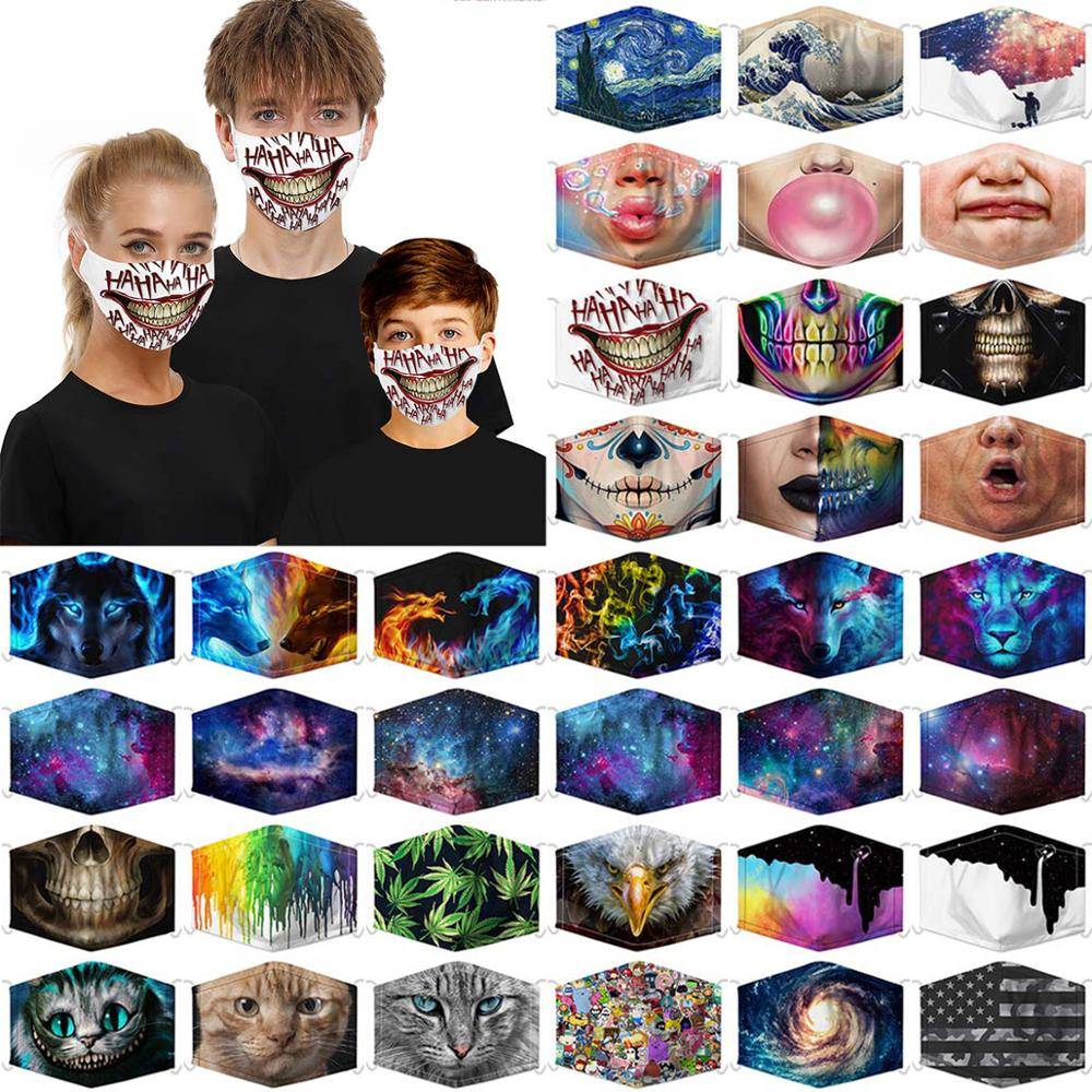 3D Printed 5 Layers Filter Protective Mask For Adult Children Dustproof Masque Animal Starry Sky Printed Filter Mask Mascarillas