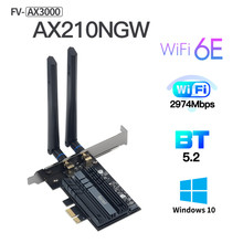 3000Mbps WiFi6E Intel AX210 Bluetooth 5.2 Dual Band 2.4G/5GHz WiFi Card 802.11AX/AC PCI-Express Adapter Desktop Network Wireless