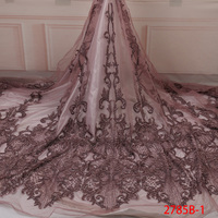 High Quality Bridal Fabric Lace Materials African Tulle Materials With Beaded Laces Wedding Fabric Patchwork Fabrics GD2785B 1