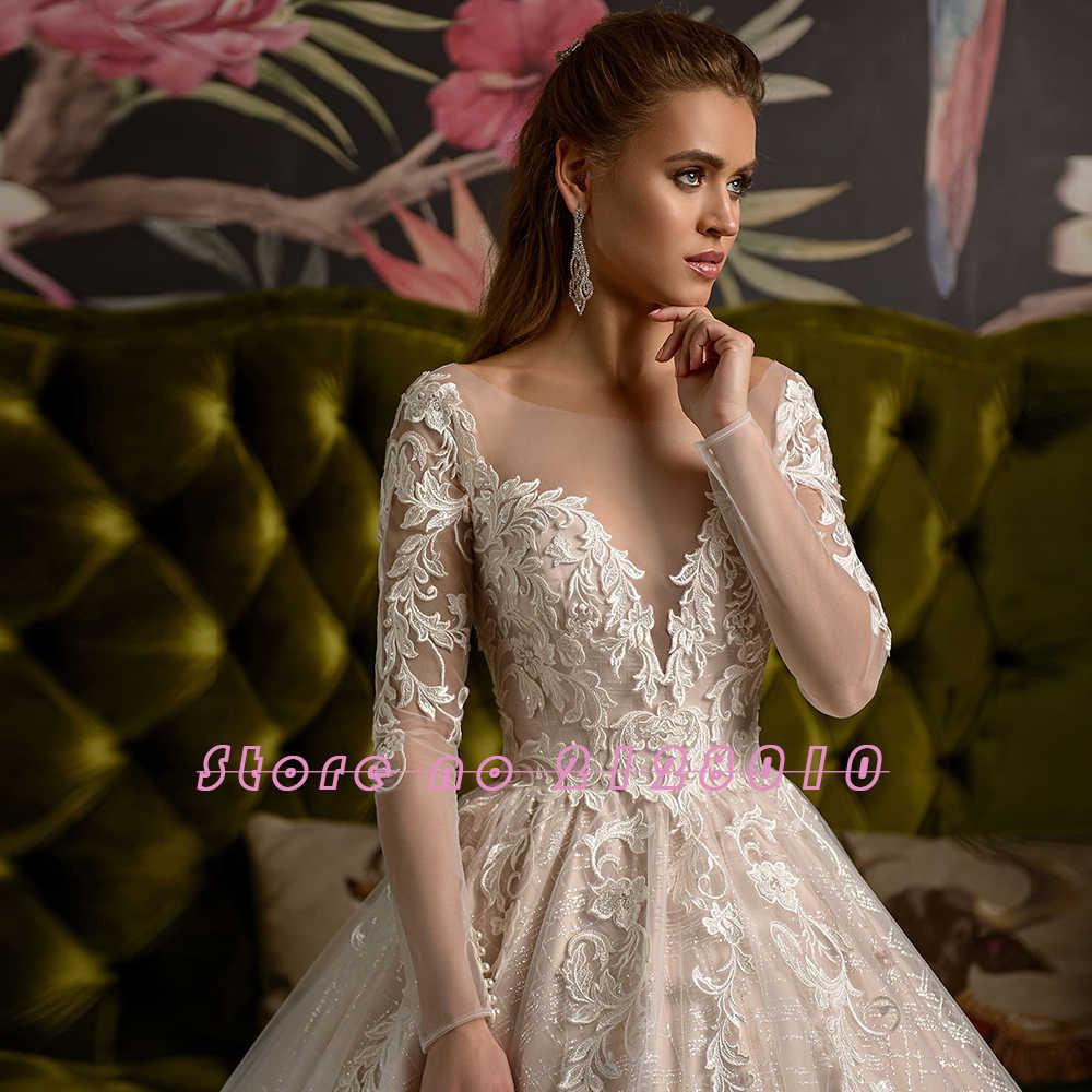 2020 Tuyệt Đẹp Sáng Bóng Bầu Áo Váy Đầm Vestido De Casamento Chiếu Trúc Hạt Appliques Dài Tay Áo Cưới Mariage
