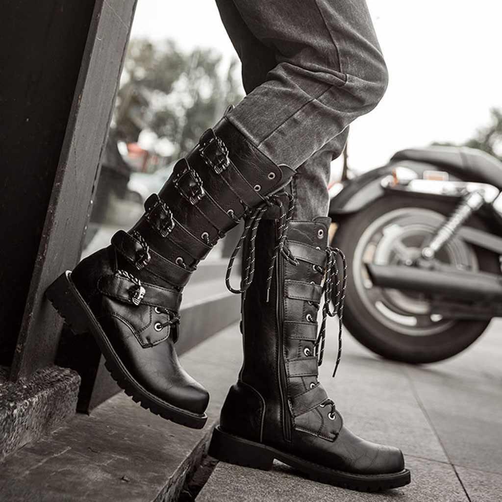 Combat Boots Flat Low Heel Mens Lace Up