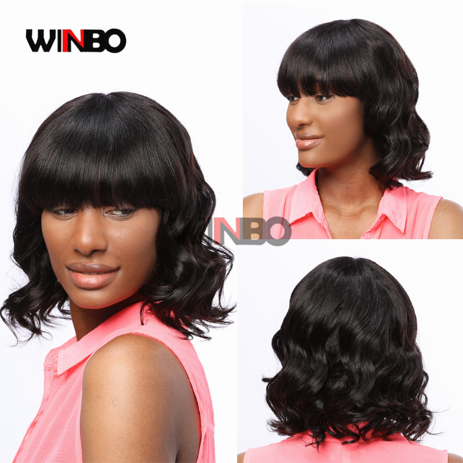 WINBO Human Hair Wavy BOB Wig 13x6 Lace Frontal Wigs Remy Hair For Black Women Wigs 13x4 Lace Front Wigs Natural Black Color