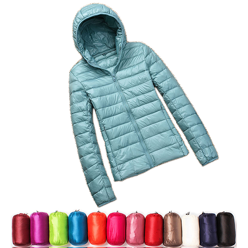 2019 New Casual 90% Ultra Light White Duck Down Jacket Women Autumn Winter Warm Coat Lady Plus Size Jackets Female Hooded Parka